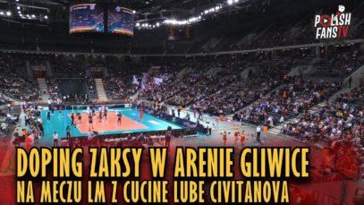 Doping kibiców ZAKSY w Arenie Gliwice podczas meczu LM z Cucine Lube Civitanova (15.01.2019 r.)