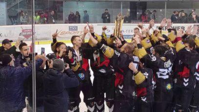 Doping oraz radość GKS-u Tychy po zdobyciu hokejowego Mistrzostwa Polski (14.04.2019 r.)