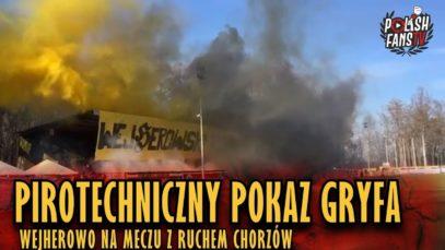 Pirotechniczny pokaz Gryfa Wejherowo na meczu z Ruchem Chorzów (14.04.2019 r.)
