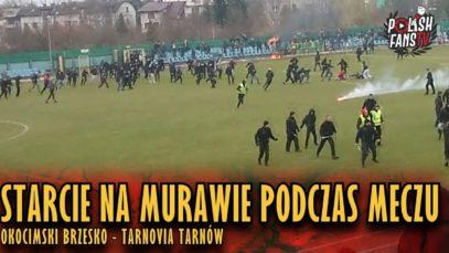 Starcie na murawie podczas meczu Okocimski – Tarnovia (16.03.2019 r.)
