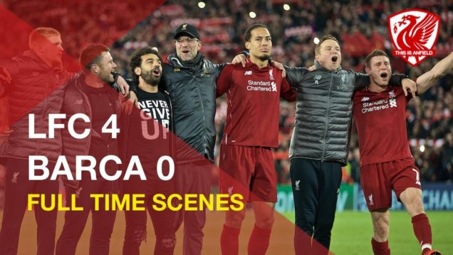 Liverpool 4-0 Barcelona | Incredible FT scenes and You'll Never Walk Alone