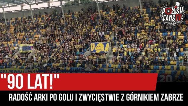 """""""90 LAT!"""" – radość Arki po golu i zwycięstwie z Górnikiem Zabrze (30.08.2019 r.)"""