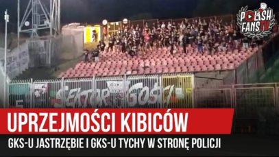 Uprzejmości kibiców GKS-u Jastrzębie i GKS-u Tychy w stronę policji (03.08.2019 r.)