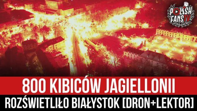 800 kibiców Jagiellonii rozświetliło Białystok [DRON+LEKTOR] (13.01.2021 r.)
